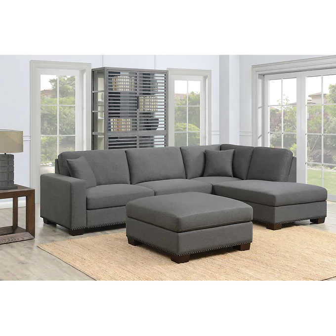 Thomasville Artesia 3 Piece Fabric Sectional With Ottoman Fabric Sectional Sofas Fabric Sectional Sectional Sofa