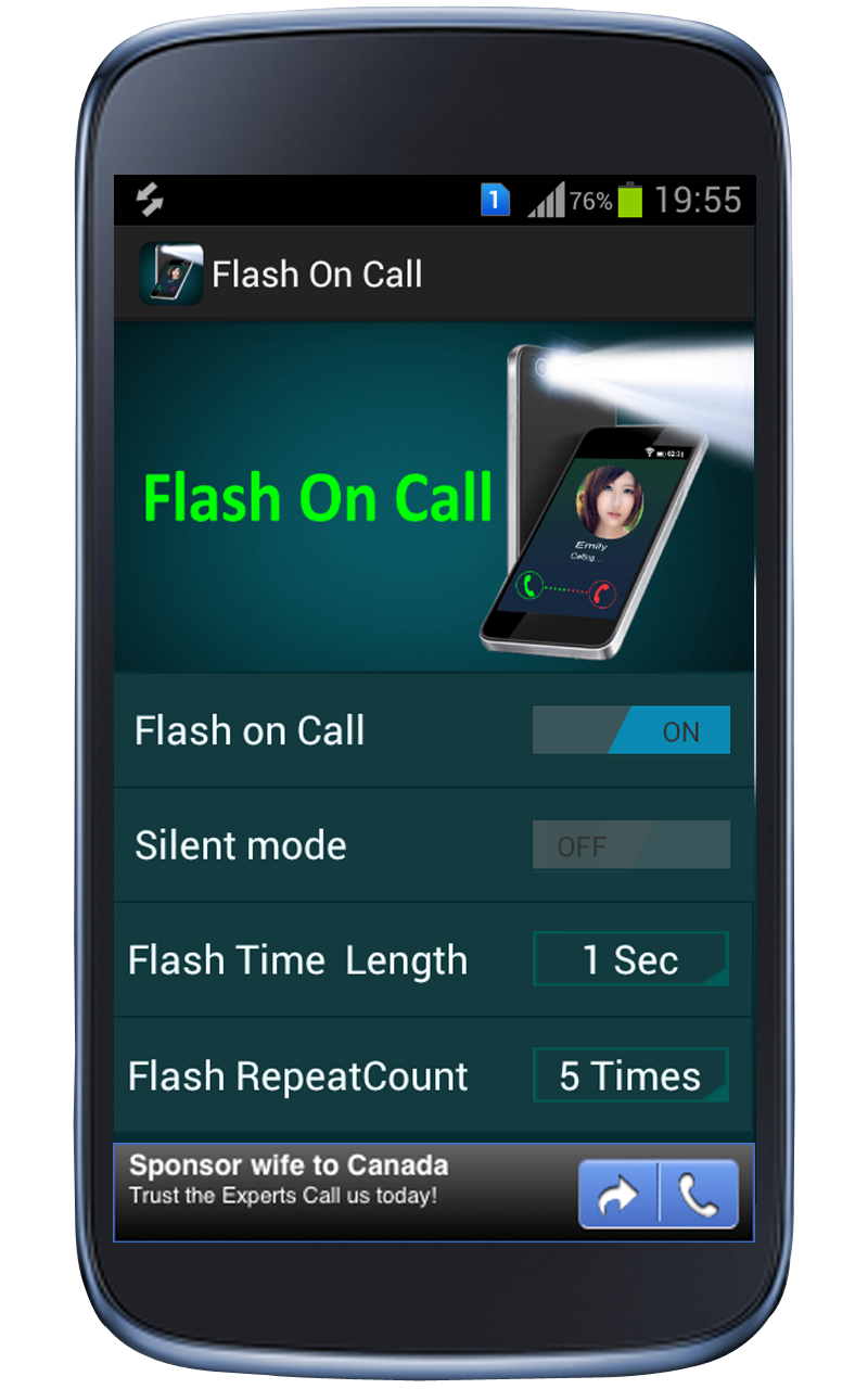 Flash On Call is a Android Mobile App... It's free to