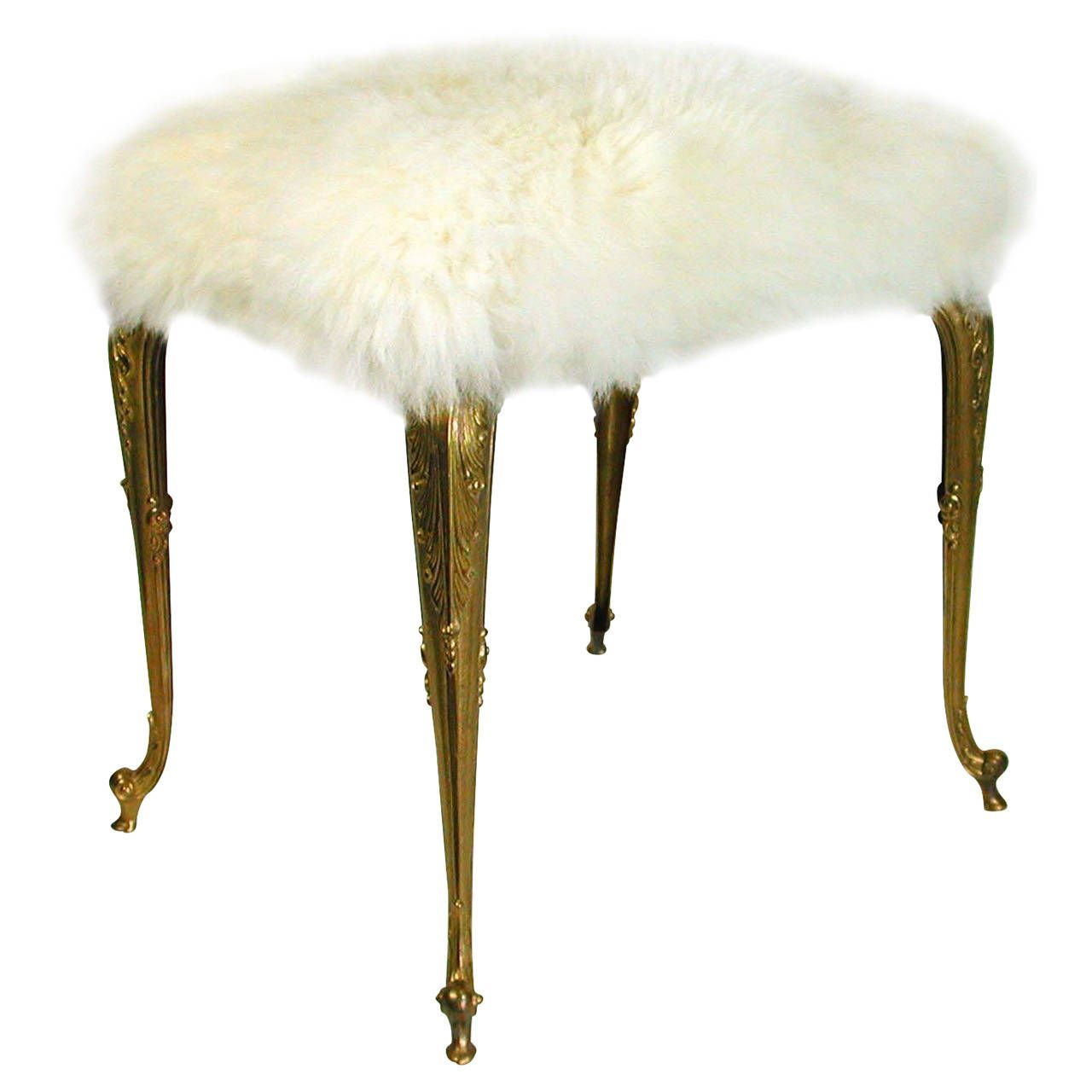 Hollywood Regency Upholstered Fur Sheep Bronze Vanity Stool Chair, 1960s |  From a unique collection - Hollywood Regency Upholstered Fur Sheep Bronze Vanity Stool Chair