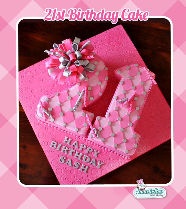 21 Number Cake In Pink And Silver Smartiebox Cakes Pinterest