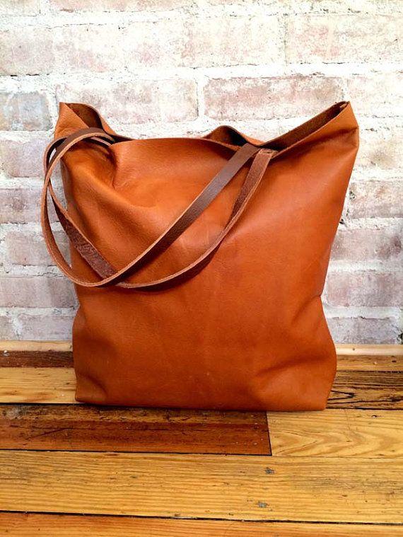 summer sale Large camel brown Leather Tote Bag - oversized brown ...