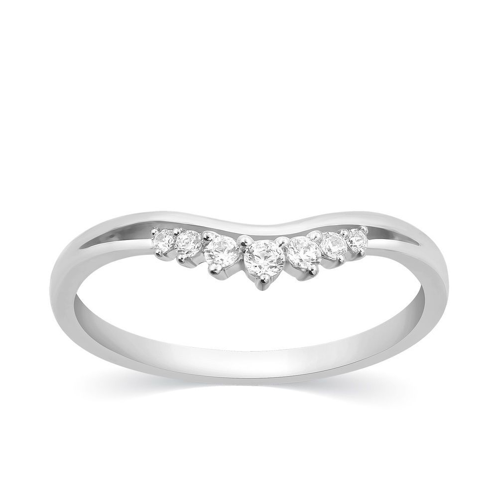 1 8 Ct Natural Diamond Stackable Band Contour 14k White Gold