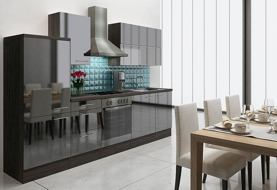 Küchenzeile mit E-Geräten »Lea«, Breite 280 cm, Korpus Eiche - küchenzeile 220 cm mit elektrogeräten