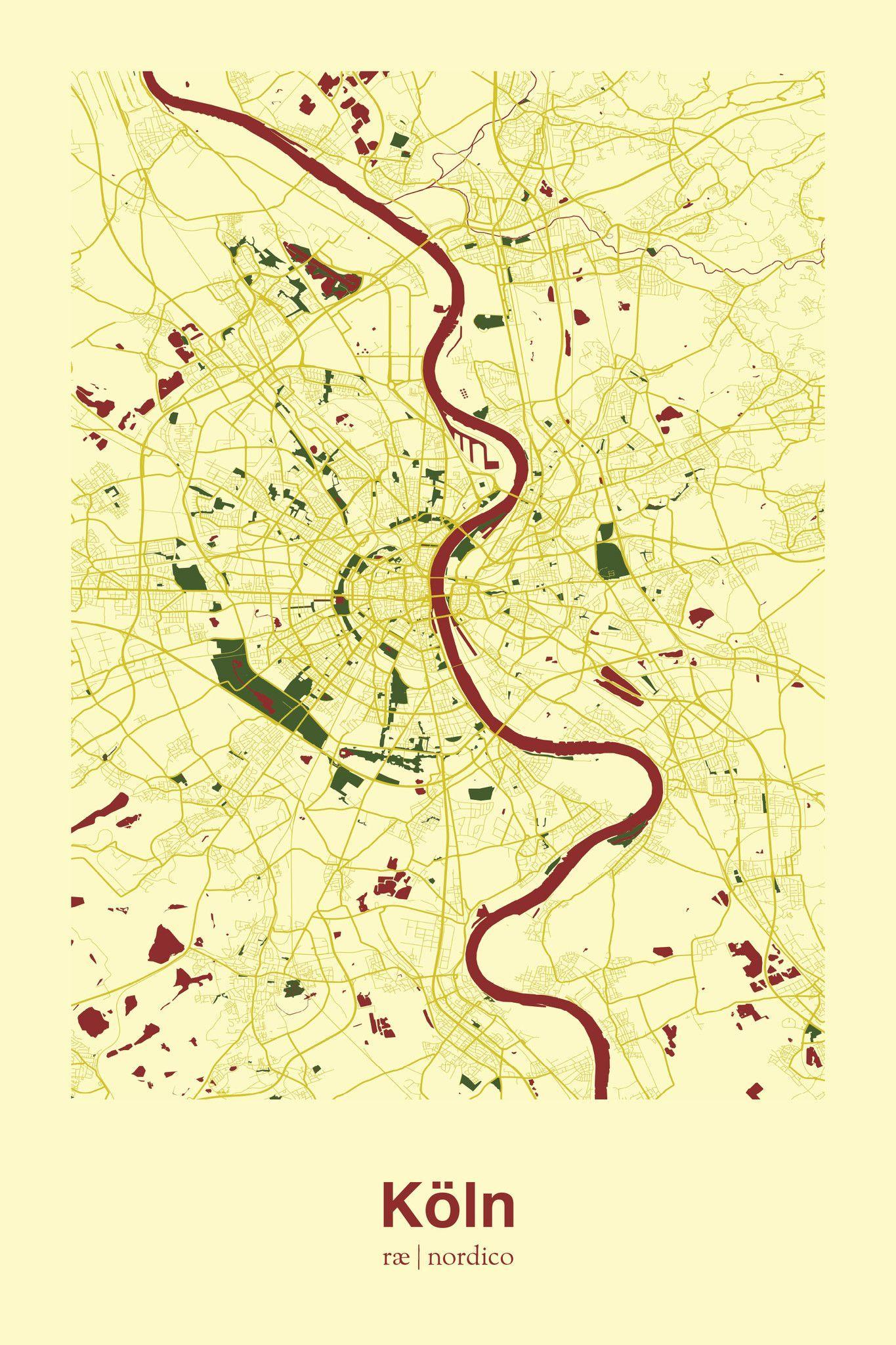Cologne Germany Map Print Weihnachtsgeschenke Pinterest