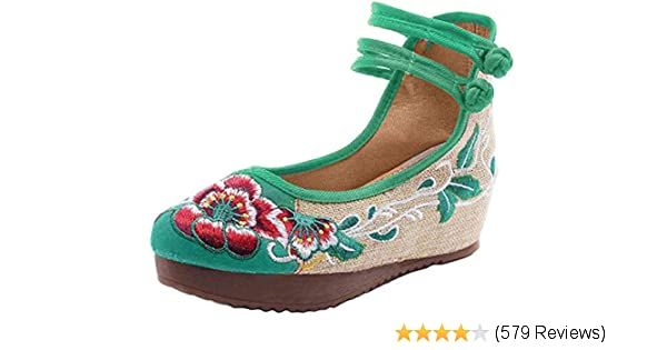 AvaCostume Women's Embroidery Floral Strappy Round Toe Platform Wedges Cheongsam 42 Green
