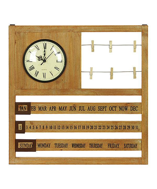 Look at this Wooden Wall Calendar with Clock on #zulily ...