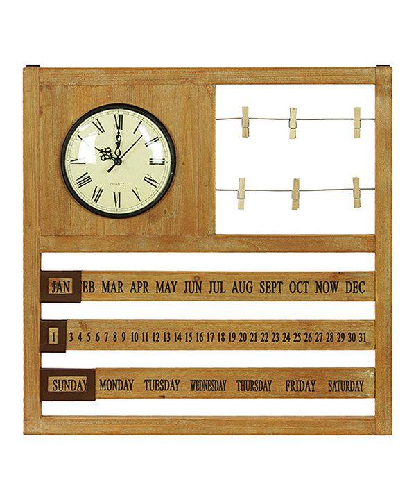Wooden Wall Calendar With Clock Zulily Wall Calendar Clock