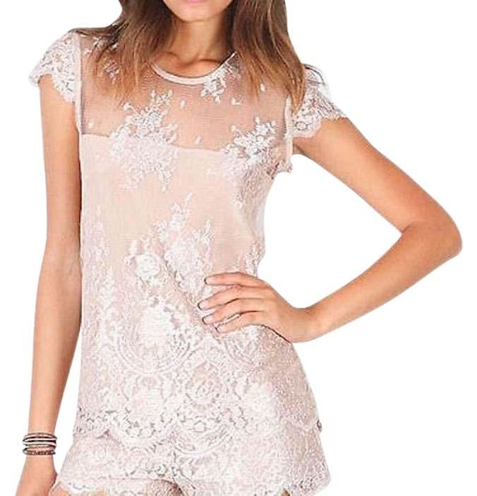 760bd5505d1a Free shipping and guaranteed authenticity on Alexis Blush Lace Lolita Cap  Sleeve Scalloped Mesh Medium TopAlexis Lolita Lace Blouse Size Medium. New .