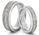 Tungsten Carbide Silver CZ Wedding Band Ring Set