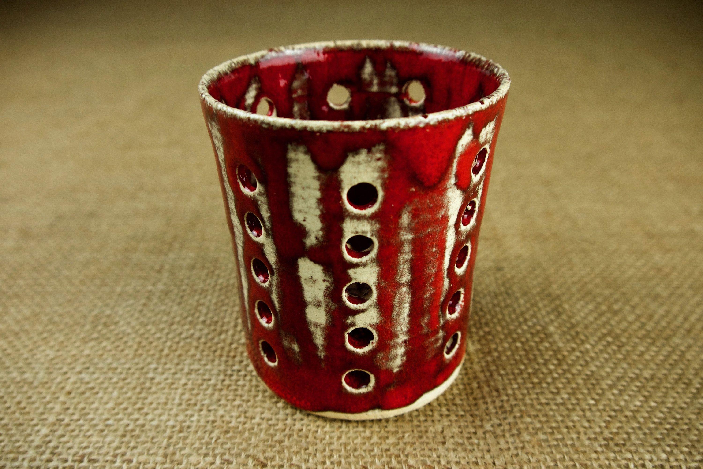 Keramik Windlicht Rot Gerade Form Mit Lebendigem Etsy Shot Glass Glassware Tableware