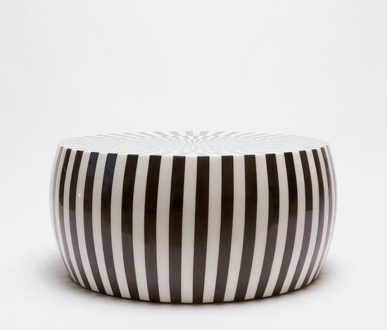 Black And White Striped Round Coffee Table: Alternating Black And White Stripes Of Resin Coffee