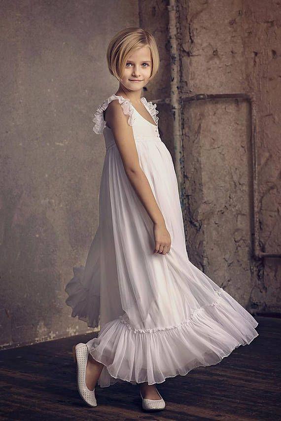Erste Kommunion, Blumenmädchen weiß Chiffon-Kleid, Boho ...