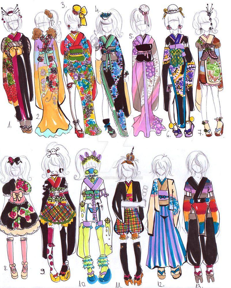 Character Design Kimono : Kimono designs closed by guppie adopts on deviantart