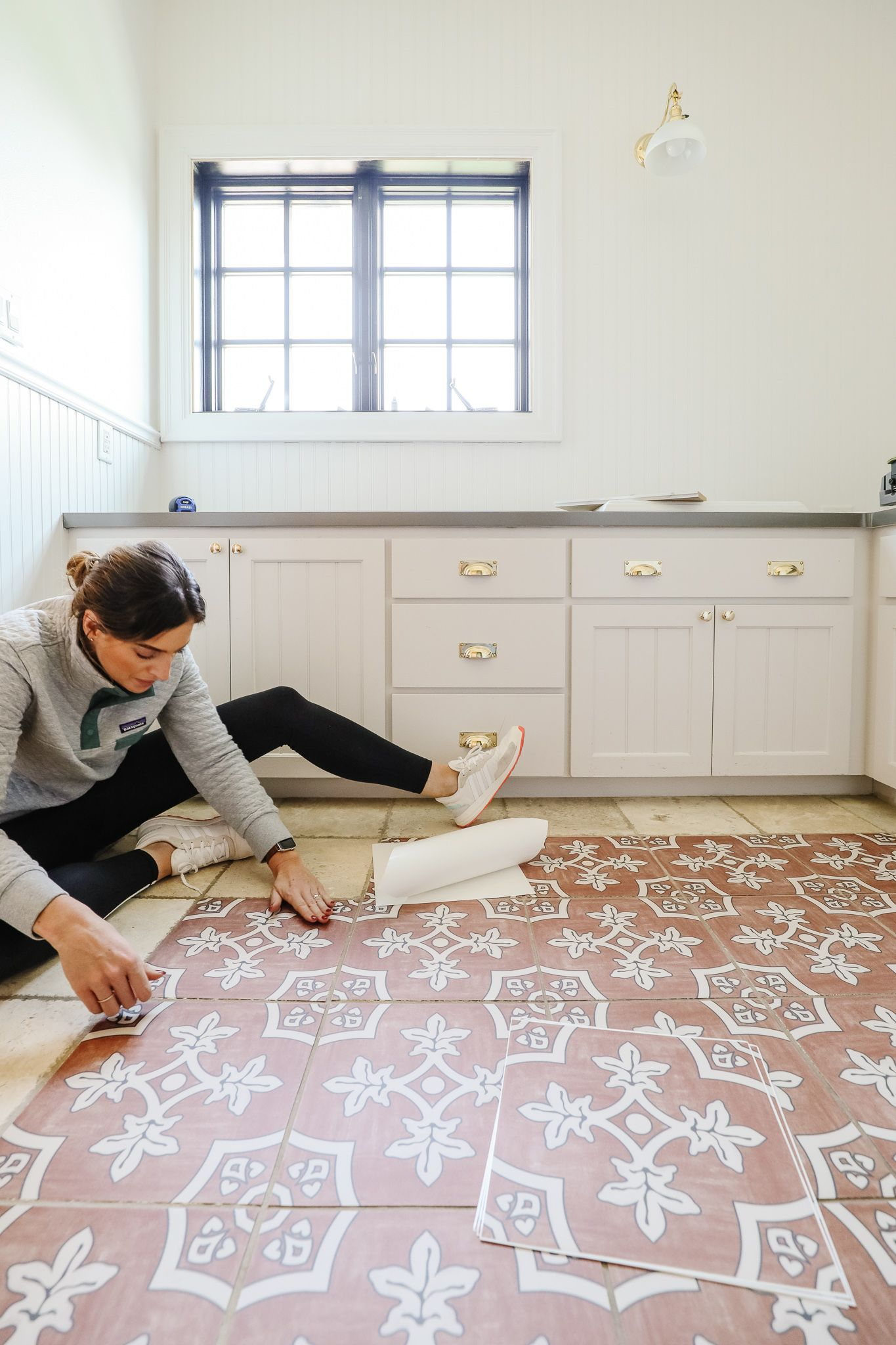 How To Laying Peel And Stick Tile Over The Bathroom Floor In 2020 Stick On Tiles Diy House Renovations Girls Bathroom