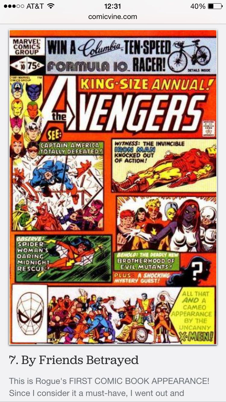 ✅ Avengers Annual #10 (Rogue's first appearance ever)