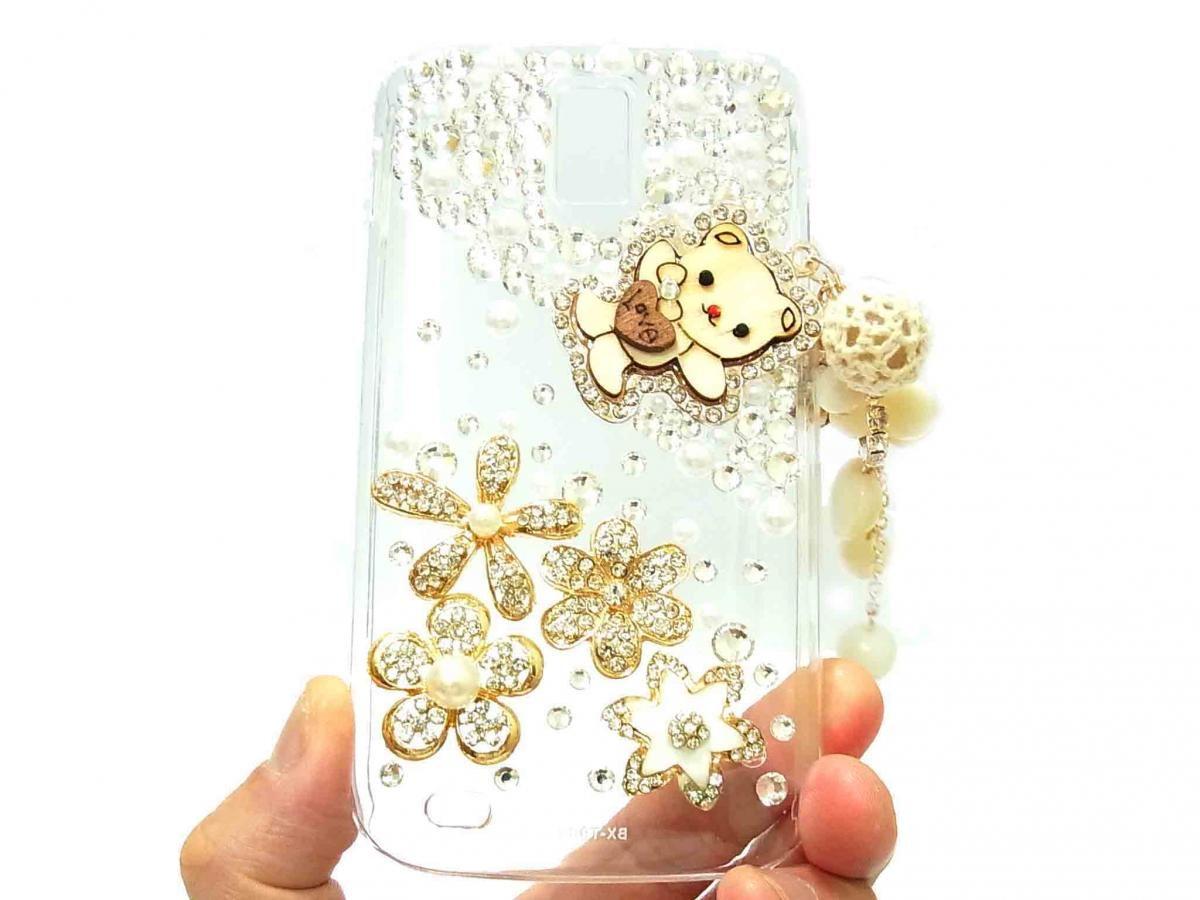 Crystal Flower Charm Lovely Bear Samsung T989 Hercules