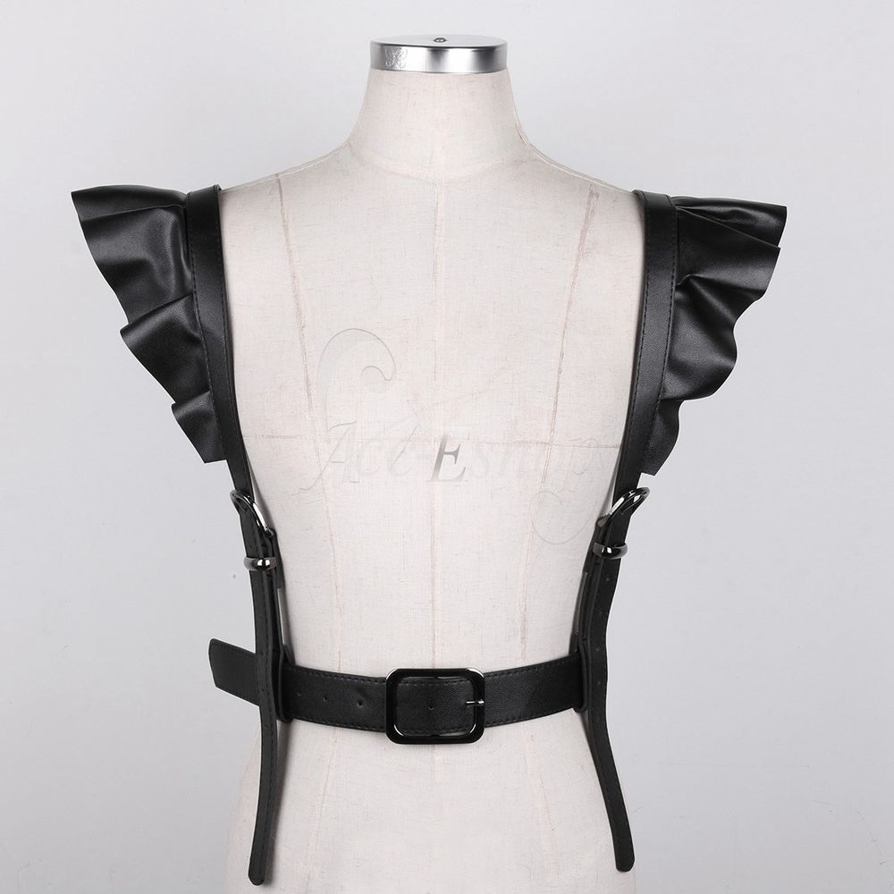 Women Faux Leather Harness Bra Elastic Cage Bra Hollow Out Body Chest Vest Top
