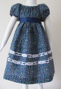#06-001 Blue cotton little girls dress