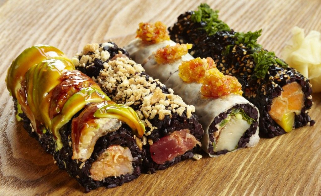 Black rice sushi foodporn food sushi japanese rice