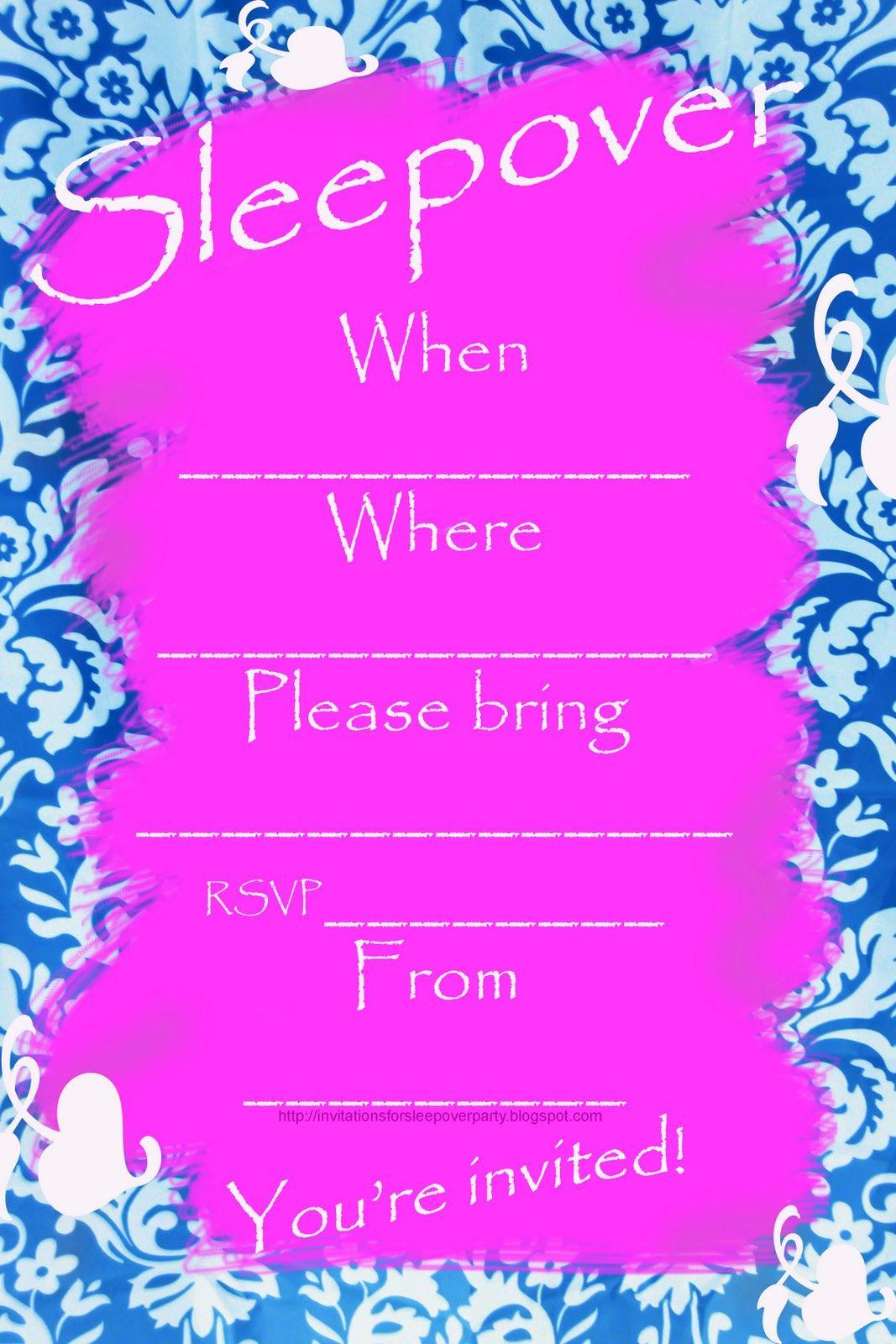Girls Sleepover Birthday Party Invitations Sweet13 bday ideas