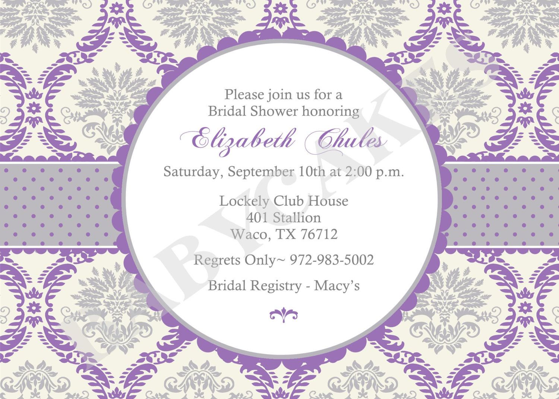 Purple Damask Bridal Shower Invitation DIY Print Your Own - Purple bridal shower invitations templates