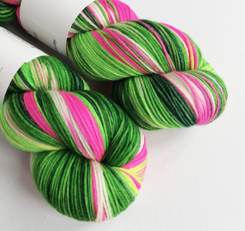 cashmere yarn variegated 4ply yarn pink mcn yarn green mcn yarn 4ply merino cashmere and nylon yarn MCN yarn hand dyed mcn yarn