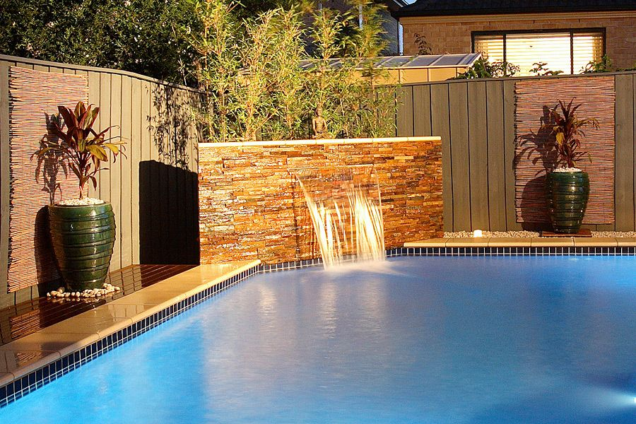 Small corner pools water feature 9 yard pinterest for Pool design water feature