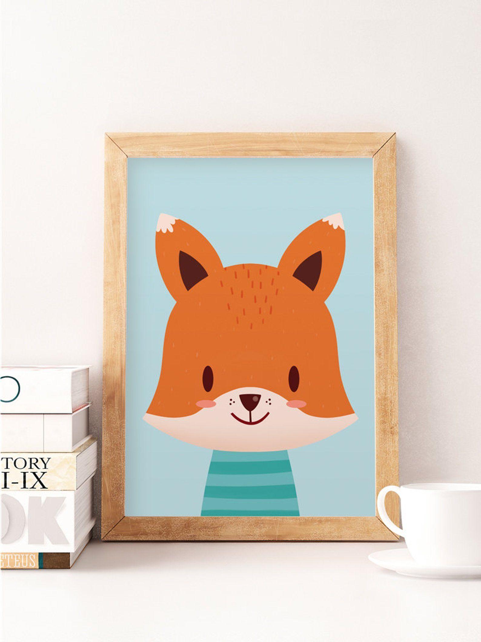 Cute fox print fox wall art animals print safari wall