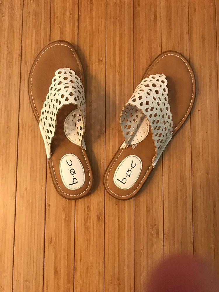 BOC White Sandal Women Slip On Size 9