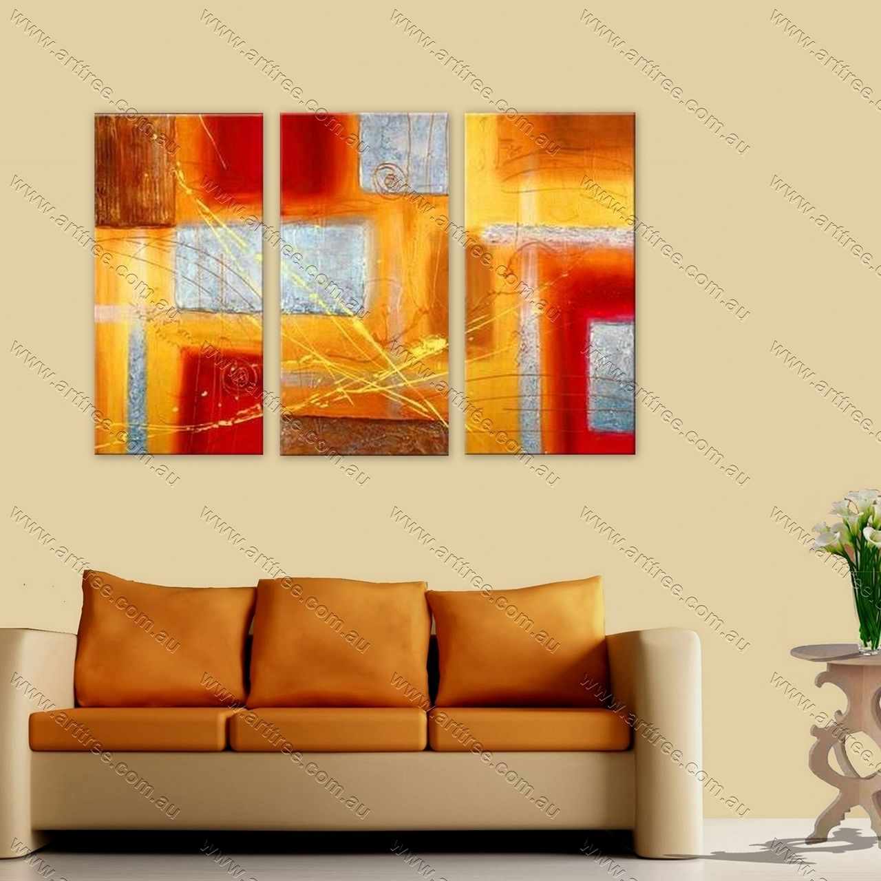 Big Square Patches Art | 3 Panel Canvas Painting | Pinterest | Wall ...