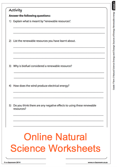 Grade 7 Online Natural Science Energy Sources Worksheet. For More Worksheets  Visit Www.e-classroom.co.za! Science Worksheets, Renewable Energy  Lessons, Science