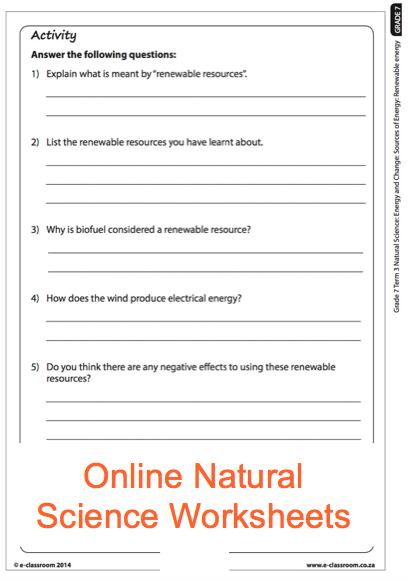 Grade 7 Online Natural Science Energy Sources Worksheet For