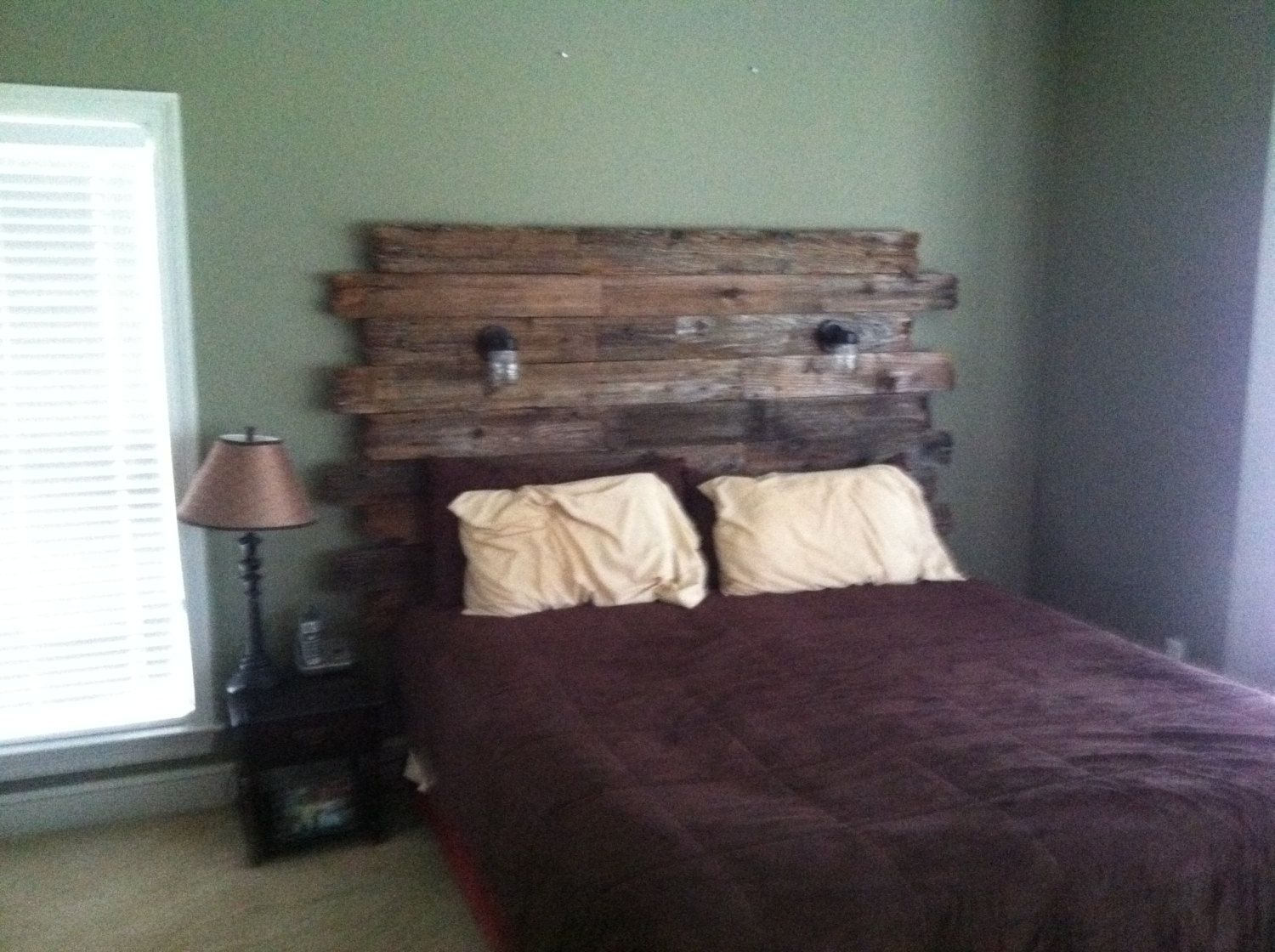 Rustic Barnwood headboard with reading lights by ...