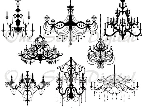 Instant Download Digital Black Chandelier Clip Art