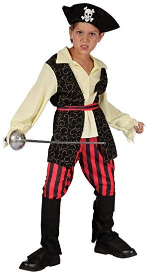 Karibischer Pirat Piraten Kostum Kinder Jungen Rot Schwarz Weiss