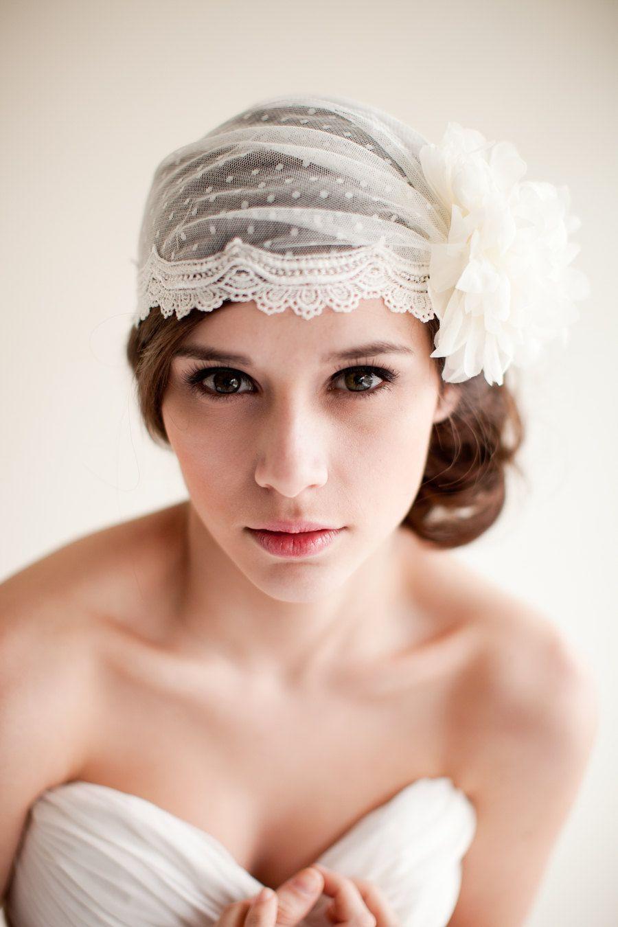Dotted bridal cap juliet cap bridal veil by melindarosedesign