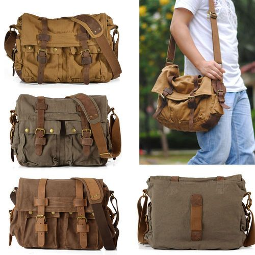 Vintage Mens Women Casual Canvas Shoulder Bag Messenger