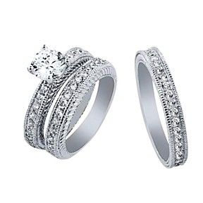 2.92 Ct His And Hers 3 Pieces Round CZ Sterling Silver Engagement Three Ring Set by JewelryHub on Opensky