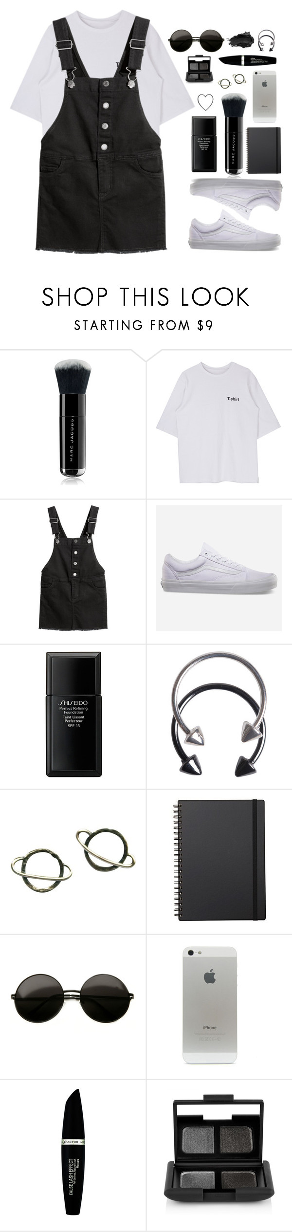 """""""she told me just shut up and drink your diet soda"""" by themusiccookie ❤ liked on Polyvore featuring Marc Jacobs, Vans, Shiseido, Pieces, Stefanie Sheehan Jewelry, Muji, Max Factor, NARS Cosmetics and Urban Decay"""