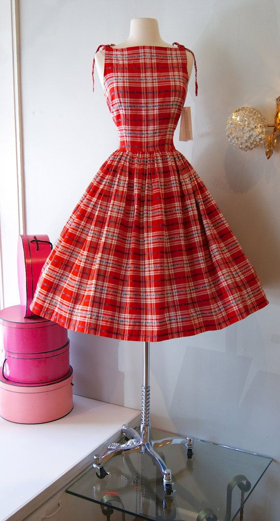 196845356598f 50s Dress // Vintage 1950's Red Summer Picnic by xtabayvintage, $175.00