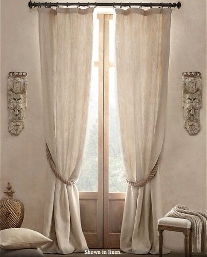 Linen Curtains With Rope Tieback Traditional Curtains Curtains Living Room White Linen Curtains