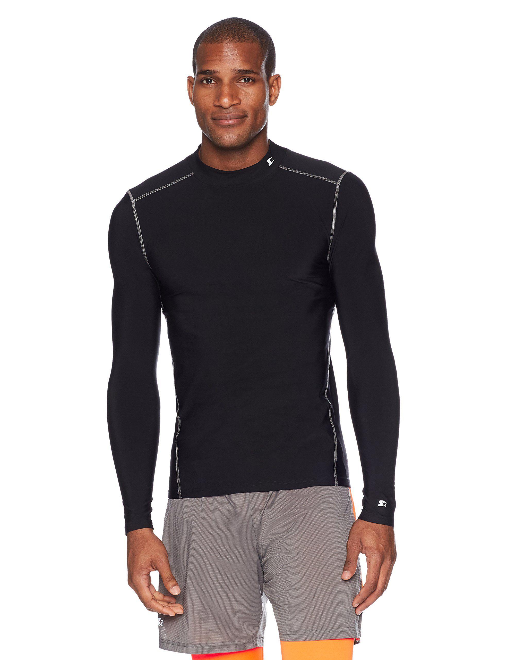 Exclusive Starter Mens Long Sleeve Mock Neck Athletic Light-Compression T-Shirt