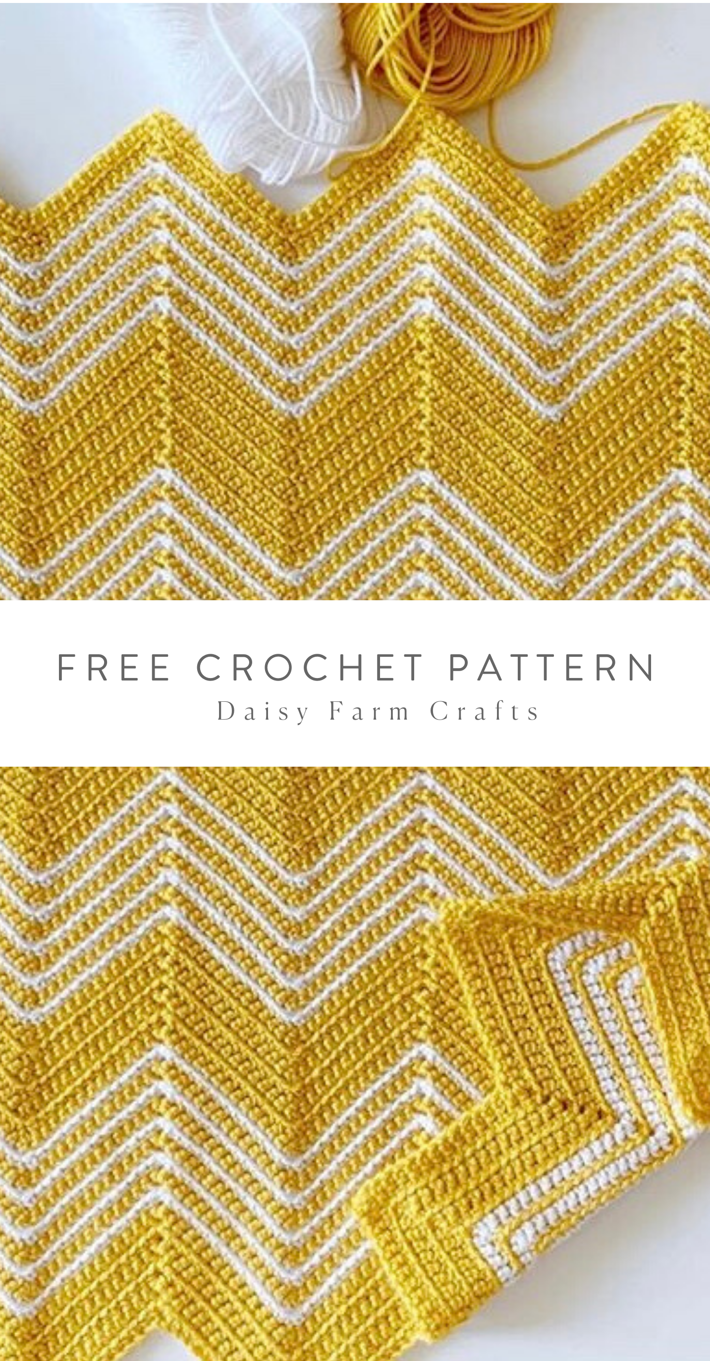 Free Pattern - Crochet Gold Chevron Blanket