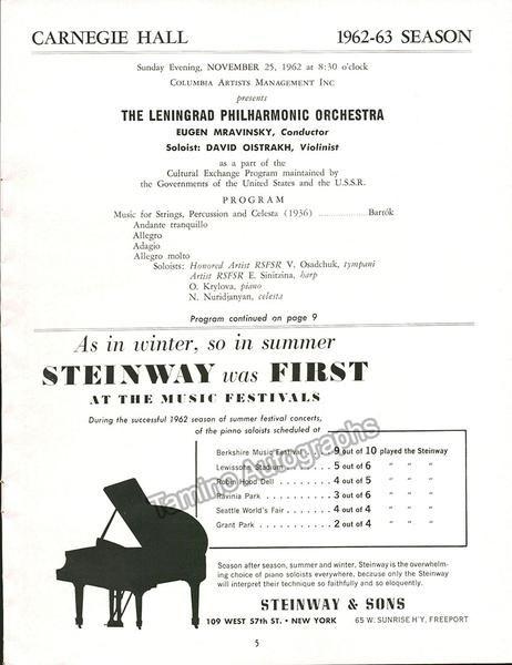 Oistrakh David  Mravinsky Yevgeny  Carnegie Hall Concert