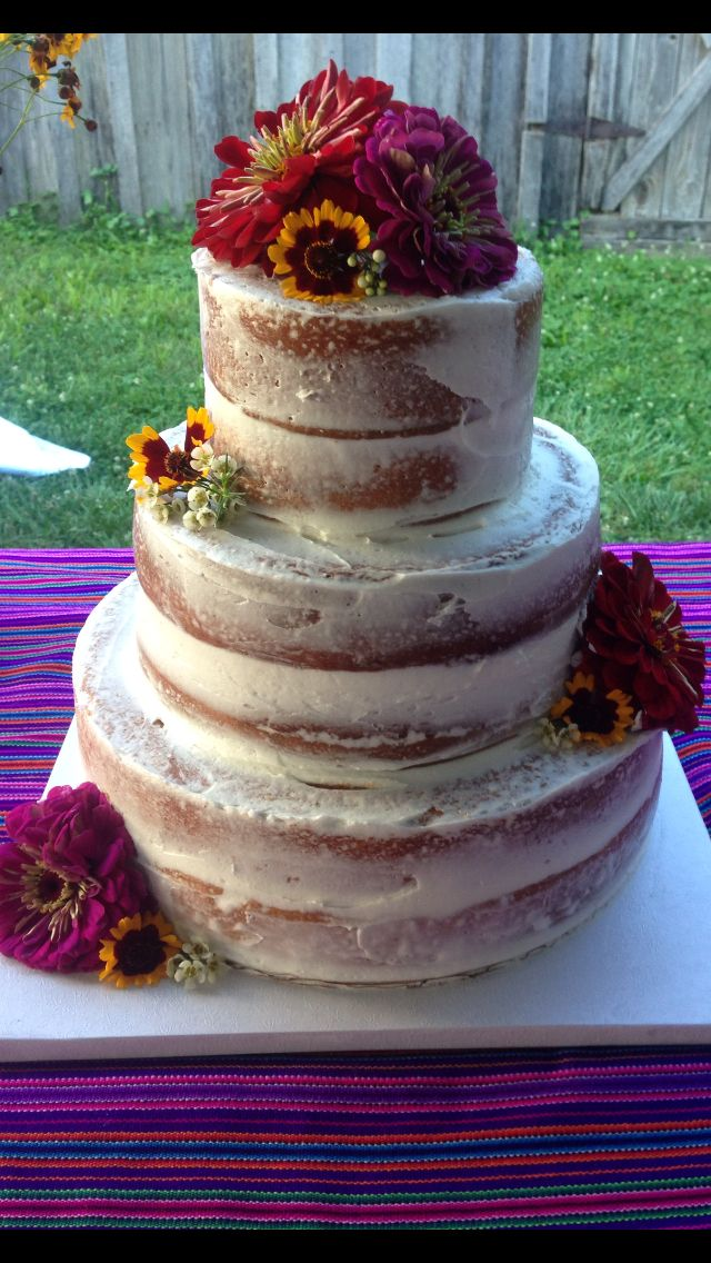Rustic Tres Leches Wedding Cake With Fruit Filling And Fresh Flowers