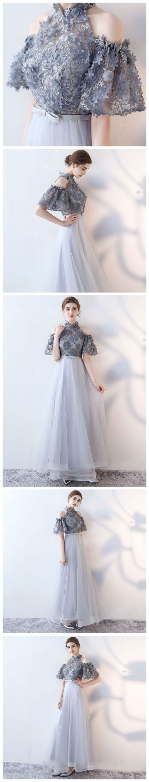 Chic aline high neck tulle applique modest long prom dress evening