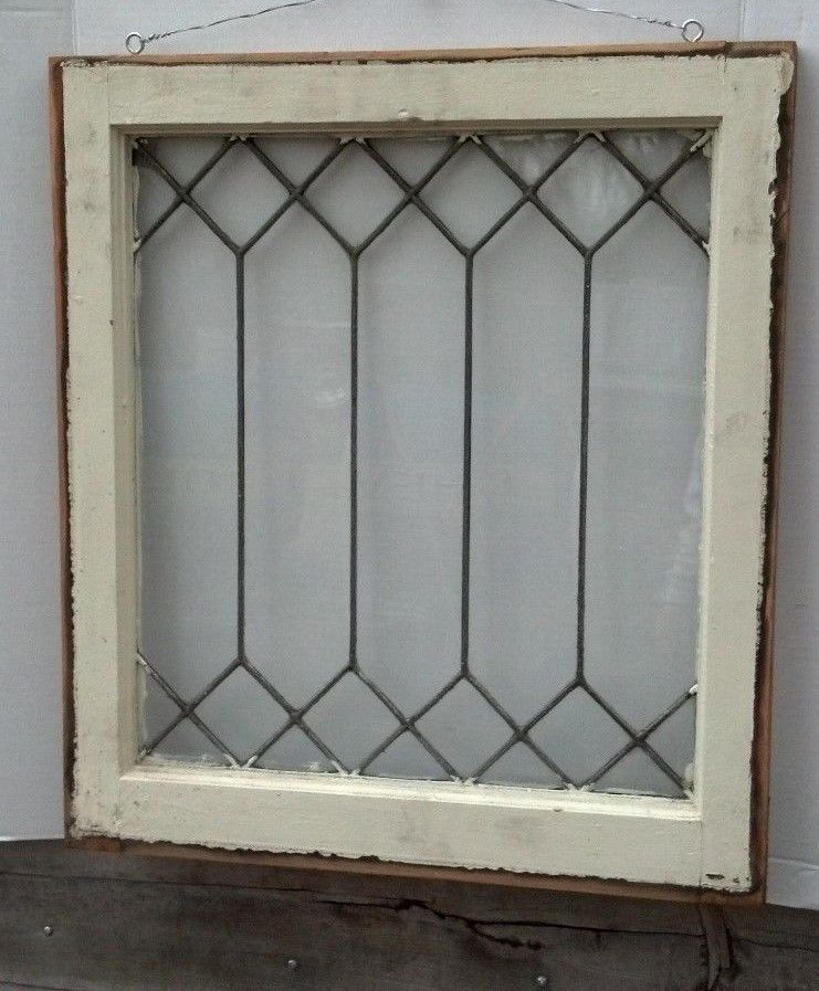 20424d910234 c1900 Leaded Glass Window Reclaimed Old Antique Diamond Pattern Art Deco  Wood