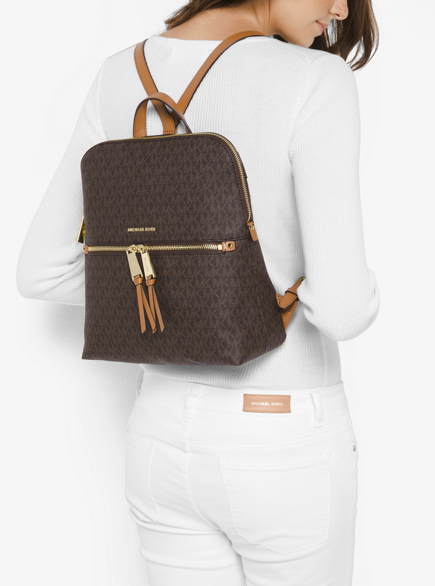 bd3ca575d77b Michael Kors Rhea Medium Slim Logo Backpack - Brown | Diamonds ...