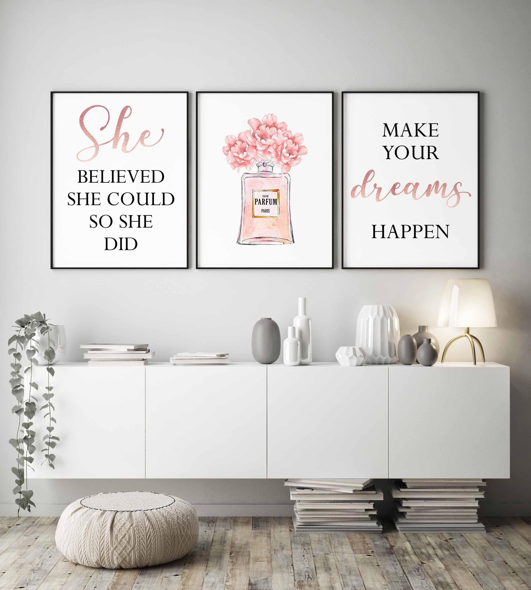 Bedroom prints,She believed she could,Rose gold room decor