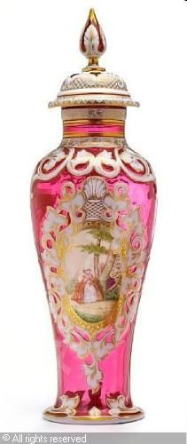 Bohemian crystal covered vase, white over cranberry with pastoral scene